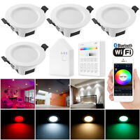 4X WIFI/Bluetooth RGBWC LED Ceiling Lamp Down Light Dimmable Music Spotlights