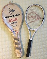RARE PATENT DUNLOP MAX POWER PLUS TENNIS RACKET W/CASE & NEW 4 1/2 ENGLAND