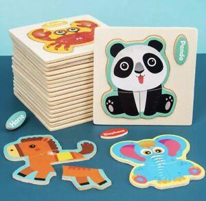Baby Wooden Intelligence Puzzle Cartoon Animal Jigsaw Learning Educational Toys
