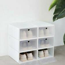 1/6 X Plastic Shoe Storage Boxes Drawer Stack able Fordable Durable Organizer UK