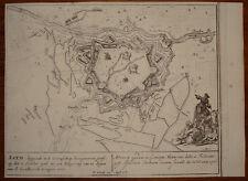 Stampa antica old print gravure Ath Belgium plan Peter Schenk 1730 kupferstich