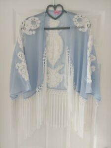 River Island Blue Tassel Kimono 12 14 16