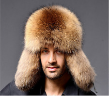 US STOCK Ushanka Men Winter Raccoon Fur&Lamb Leather Russian Cossack Trapper Hat