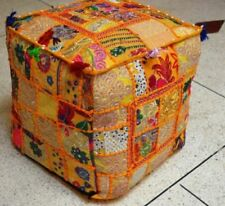 Ottoman Ethnic Decor Indian Pouffe Handmade Square Bohemian Patchwork Cover