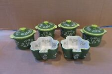 New listing Set Temptations Floral Lace Green Shamrock 8 oz. Round Ramekins Crocks Bowls New
