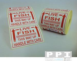 Red LIVE FISH Handle With Care Labels Stickers Pet Shop Aquatic 100x75mm TWU-80