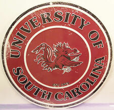 UNIVERSITY OF SOUTH CAROLINA GAME COCKS ROUND METAL SIGN,  APO and FPO WELCOME