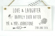 Handmade Wedding Personalised Happily Ever After Plaque Gift Love Laughter Sign