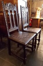 Antique Victorian solid oak MATCHING PAIR CARVED CHAIRS hall dining 17th C style