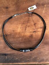 Fossil Necklace for Men Men's Casual Black Leather Stainless Steel JF85431040
