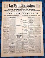 La Une Du Journal Le petit parisien 3 Août 1914 Allemagne Envahi Territoire
