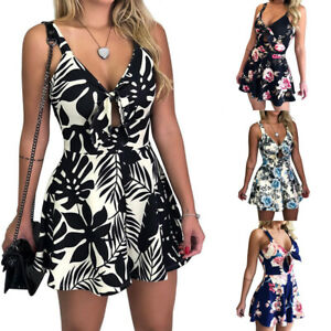 Women Floral Print Sleeveless V-neck Rompers Jumpsuit Summer Slim Sexy Playsuit