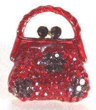 Brooch Lapel Pin - Small Purse - Red & Purple Rhinestones - Enamel - Gold Tone