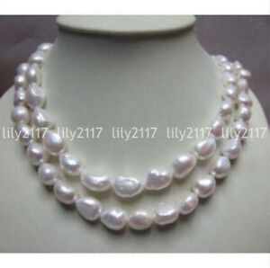 """Genuine Natural 9-10mm irregular South Sea White Pearl Necklace 18/22/24/30/36"""""""