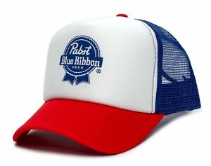 Pabst Blue Ribbon PBR Truckers Hat Cap Red/White/Royal