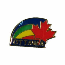 RED MAPLE LEAF & RAINBOW WITH CAPTION OTTAWA  METAL LAPEL PIN BADGE .. NEW