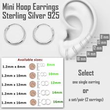Mini Hoop Earring Sterling Silver 925 8mm 10mm 12mm 14mm 16mm Small Single/Pair