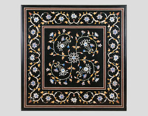"""32"""" Black Marble Dining Coffee Table Top Pietra Dura Inlay Home Decor"""