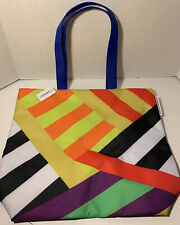 Donald X Clinique Shopping Shoulder Travel Large Tote Rainbow Stripes Bag NEW