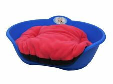 Heavy Duty BLUE Pet Bed With FUCHSIA PINK Cushion UK MADE Dog Or Cat Basket