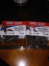 Eagle Claw 189FK-2/0 Baitholder 2 Slices Offset Fishing Hook 40pc Nickel, 2 pk