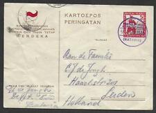 Netherlands Indies covers 1946 Postal Stationery MERDEKA Batavia/OranjeBoulevard