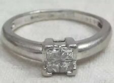 Art Deco Platinum Cluster Princess Square Cut Diamond Ring