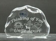 """Thinking of you"" 24% LEAD CRYSTAL PAPERWEIGHT made in USA Hope Faith Love"