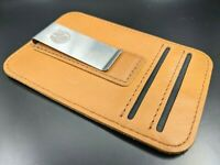 Tan Color Luxury Modern Leather Cardholder Wallet - Slim with Money Clip - New