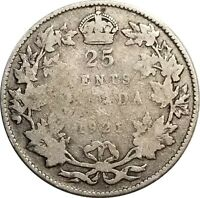 1921 Canada Silver 25 Cents, Low Grade Example of a Better Date in Series