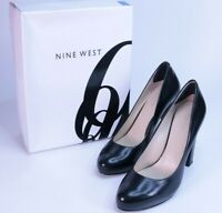 NINE WEST DAZZLER Mini Platform Block Heel Pumps Black Leather Women Size 8.5 M