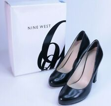 NINE WEST DAZZLER Mini Platform Block Heel Pumps Black Leather Women Size 8.5 M