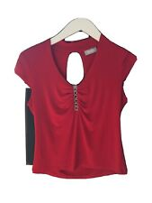 Wallis Size 14 Red Stretch Cap Sleeve Diamante Top (P11)