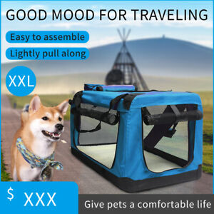 XXL Fabric Soft Pet Crate Kennel Cage Carrier House Dog Cat Travel Bag Blue UK