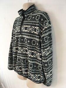 LL Bean Mens XL Green Nordic Ski Vtg USA Made Half Snap Pullover Fleece Sweater