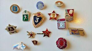 Vintage Soviet metal badges. Genuine, each one at least 30 years old, Not repro.