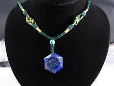 Lapis Lazuli Carved Merkaba Star crystal Pendant Turquoise bead necklace healing