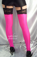 MADAME FANTASY NEON PINK OPAQUE BLACK LACE TOP STOCKINGS XS-XXXL Tall