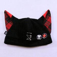 PAWSTAR Punk Fox Hat - Black Red Plaid Visual Kei Goth JROCK Wolf emo [RD]1858