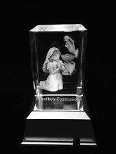 Girl First Holy Communion - 3d Laser Etched Crystal Block With 4 Lights LED Base