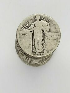 Silver Standing Liberty Quarter 1/2 Roll FULL DATE 1916-1930 Mixed Year & Mint