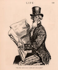 1916  CARTOON POLITICAL GIBSON ART UNCLE SAM READS PAPERS TO FIND WAR IN EUROPE