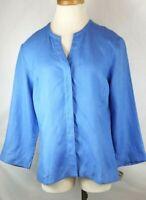Talbots Irish Linen Blue Jacket Women sz 12 Button Top Collarless V Neck L/S New