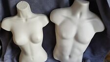 4 Mannequins: 2 Male & 2 Female Torso Forms / Flesh Hard Plastic w/ Hook