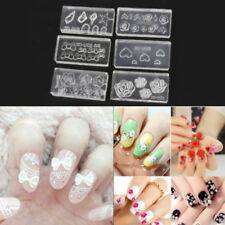Silver White Tips Bows Flowers 3D Nail Art Stickers UV Acrylic Decals Decor 6A