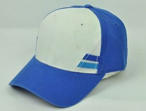 Casual Outdoors Blue White Mens Adult Sun Buckle Curved Bill Hat Cap