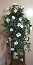 MORNING GLORY WHITE ARTIFICIAL HANGING INDOOR PLANT * LARGE  * pot not included