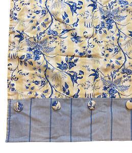 "Roman Shade Bird Yellow French Country 1 Panel 51""x56"" Custom Fabric"