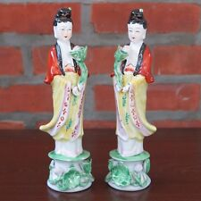 "Pair of Guanyin Kwan Yin Mercy Goddess Porcelain Figurines Statues 10"" tall New"