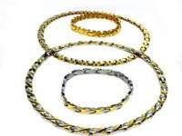 Hugs and Kisses Womens Choker Necklace 2 sets 14K Gold & 2 Tone  Bracelet set